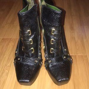 Black snakeskin booties